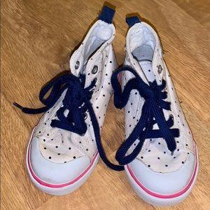 EUC high top polka dot toddler shoes